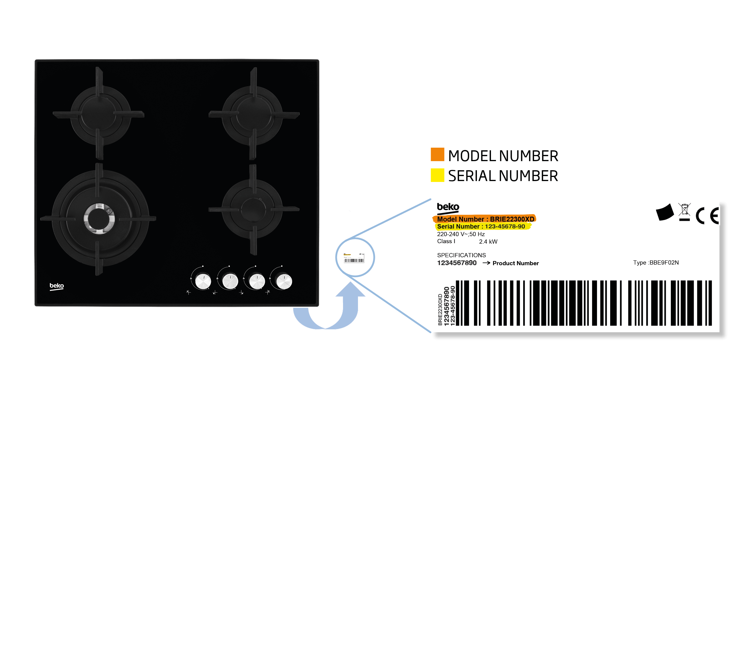 built-in gas Hobs model number