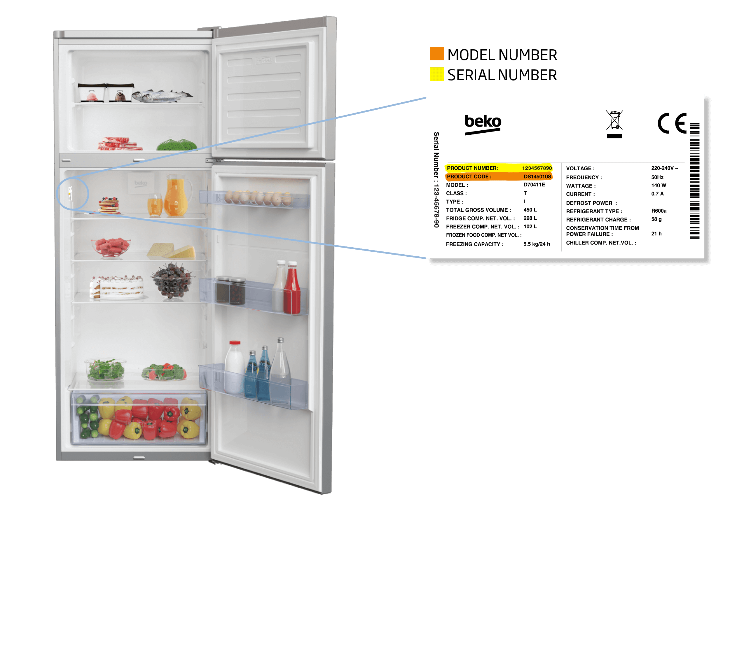 freezer top fridge freezer model number