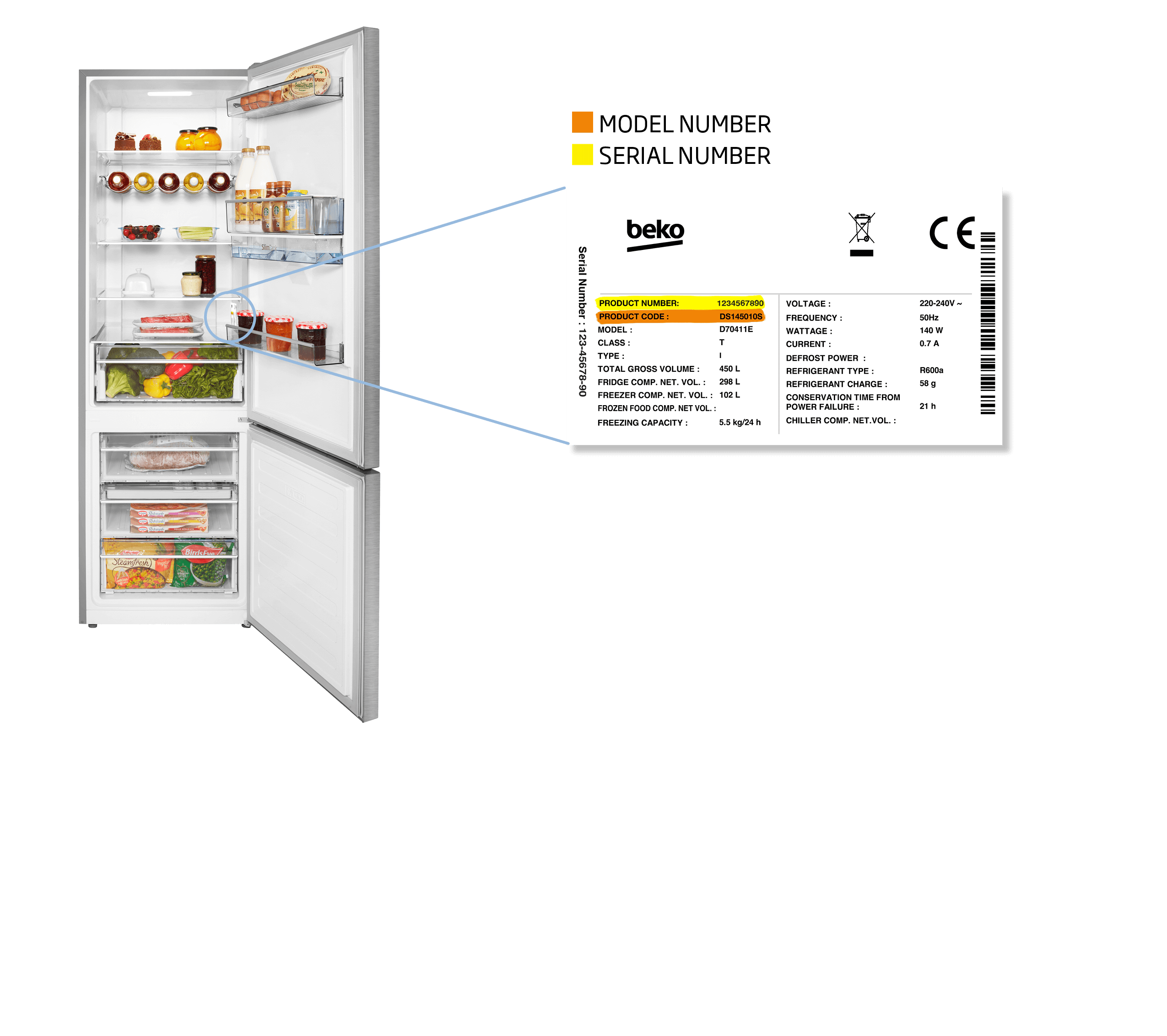 freezer bottom fridge freezer model number