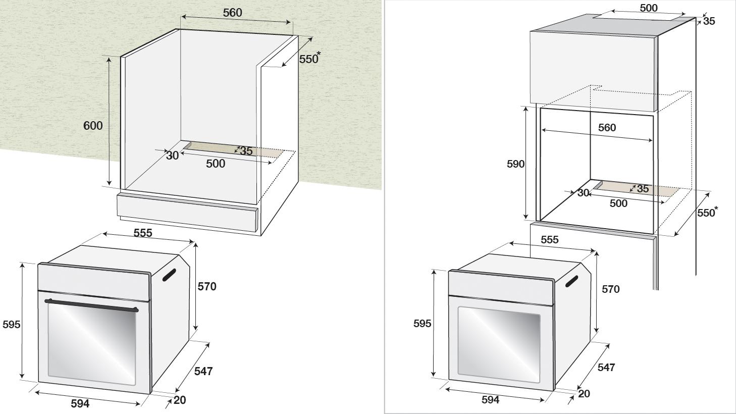 Conventionele oven, A, 4 functies, 71 L, inox