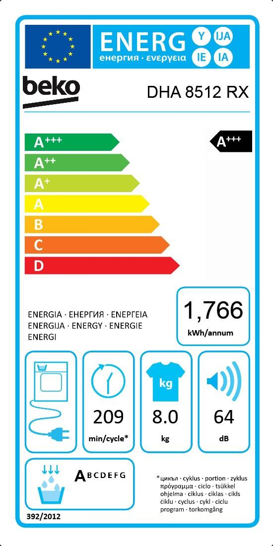 8 kg Bomba de calor Secadora   DHA 8512 RX   BEKO