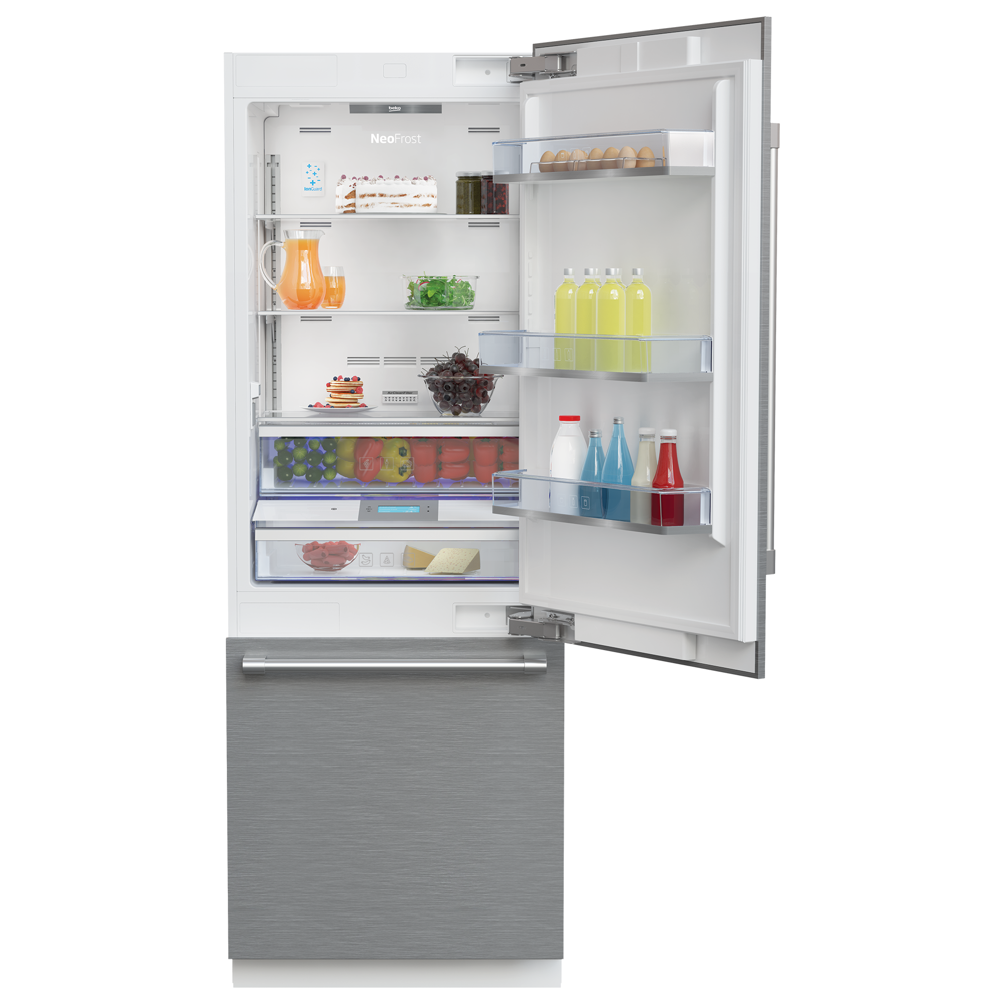 30 Freezer Bottom Built In Refrigerator With Auto Ice Maker And Internal Water Dispenser Bbbf3019imwe Beko
